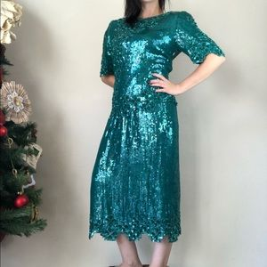 Scala vintage sequined green skirt set sz medium